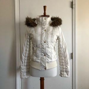 Faux Fur Trim Puffer Jacket Size Small
